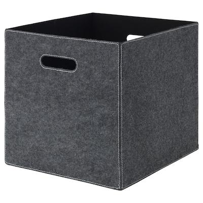 BLÄDDRA Låda, grå, 33x38x33 cm