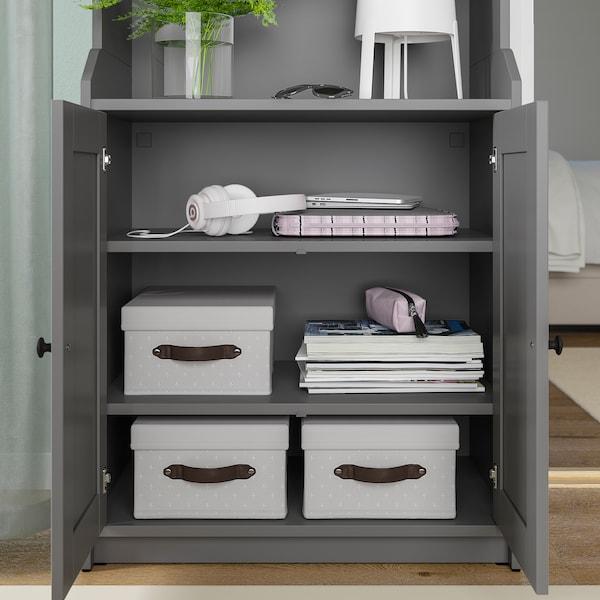 BLÄDDRARE Låda med lock, grå/mönstrad, 25x35x15 cm