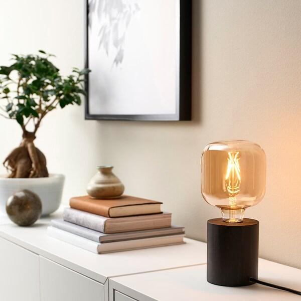 BLEKKLINT Bordslampa, mörkbrun trä, 11 cm