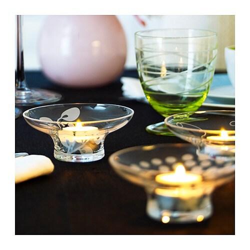 BLOMSTER Värmeljushållare, glas, blandade mönster Höjd: 5 cm