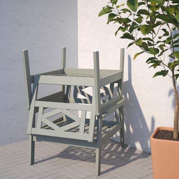 BONDHOLMEN 4-sits möbelgrupp, utomhus, grålaserad/Kuddarna beige
