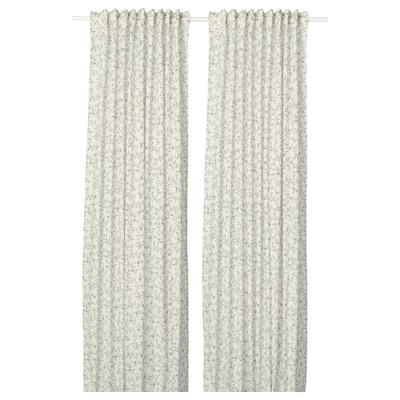 BRANDNÄVA gardiner, 1 par vit/grå 250 cm 145 cm 1.49 kg 3.63 m² 2 styck