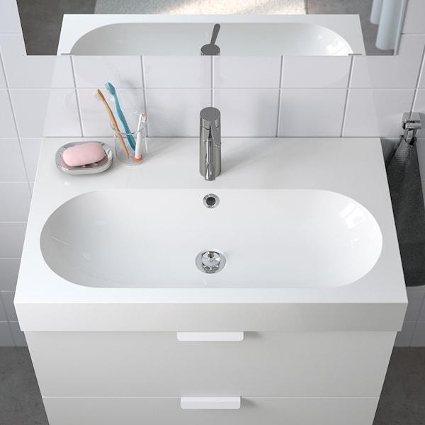 BRÅVIKEN Tvättställ 1 ho, vit, 80x48x10 cm