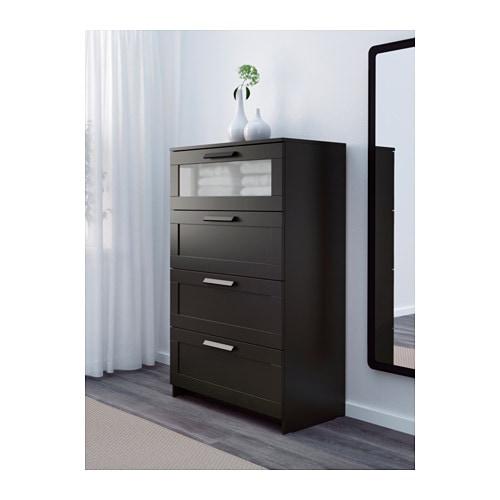 BRIMNES Byrå med 4 lådor svart frostat glas IKEA