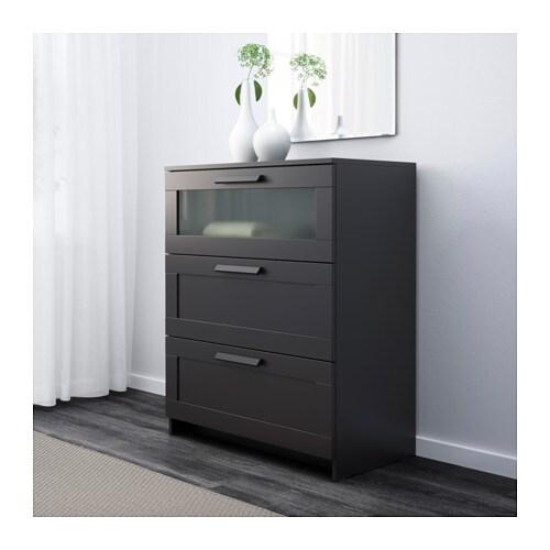 brimnes byr med 3 l dor svart frostat glas ikea. Black Bedroom Furniture Sets. Home Design Ideas