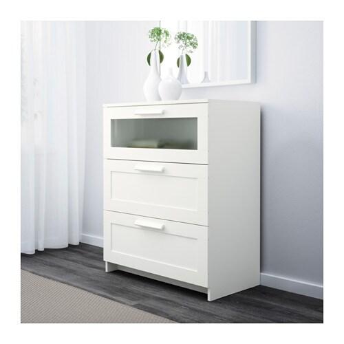BRIMNES Byrå med 3 lådor vit frostat glas IKEA