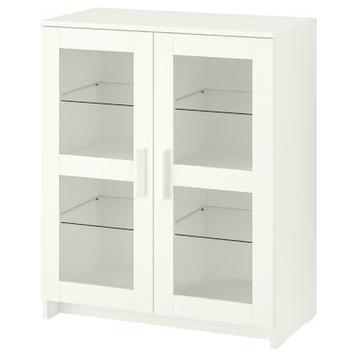 BRIMNES Skåp med dörrar, glas/vit, 78x95 cm