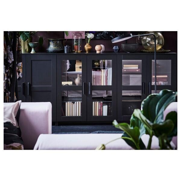 BRIMNES Skåp med dörrar, svart, 78x95 cm