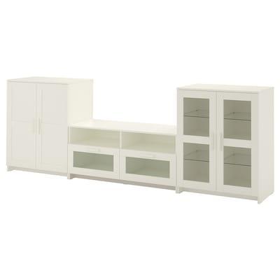BRIMNES Tv-förvaring kombination/glasdörrar, vit, 276x41x95 cm