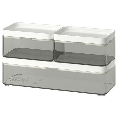 BROGRUND Box, set om 3, transparent grå/vit