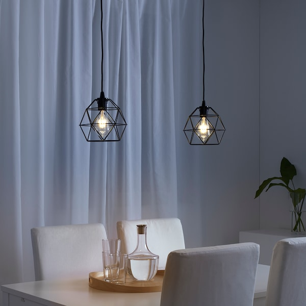 BRUNSTA Taklampskärm, svart, 20 cm