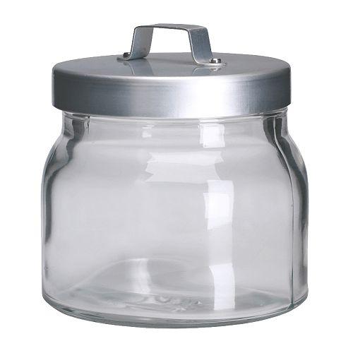 BURKEN Burk med lock, klarglas, aluminium Diameter: 10 cm Höjd: 10 cm Rymd: 0.5 l