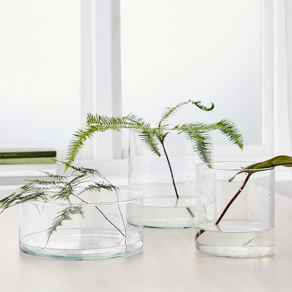 CYLINDER Vas/skål, set om 3, klarglas