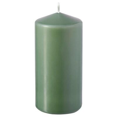 DAGLIGEN Blockljus utan doft, grön, 14 cm