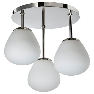 DEJSA Taklampa med 3 lampor, förkromad/opalvit glas