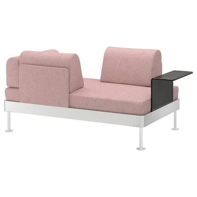 DELAKTIG 2-sitssoffa med sidobord, Gunnared ljus brunrosa
