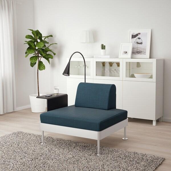 DELAKTIG Fåtölj med sidobord och lampa, Hillared mörkblå IKEA