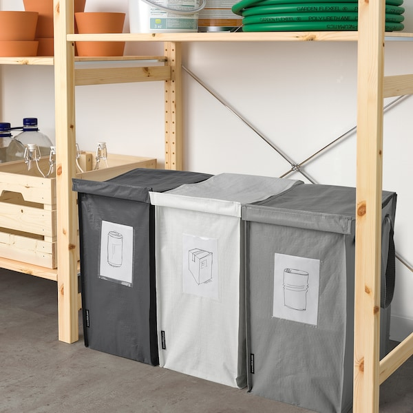 DIMPA Väska för källsortering, vit/mörkgrå/ljusgrå, 22x35x45 cm/35 l