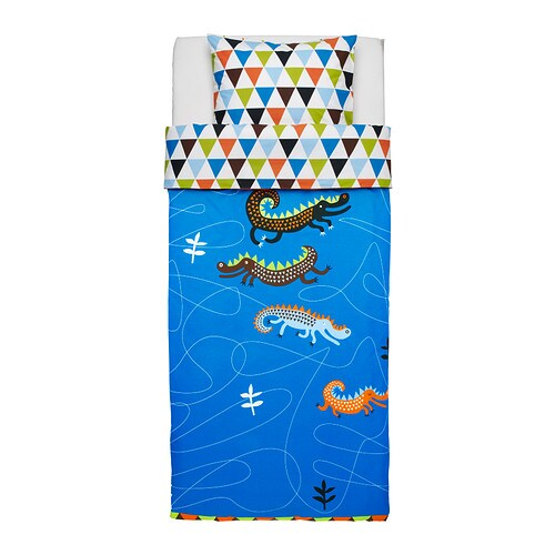 DRAKDJUR Påslakan 1 örngott , blå Påslakanlängd: 200 cm Påslakanbredd: 150 cm Örngottslängd: 50 cm Örngottsbredd: 60 cm