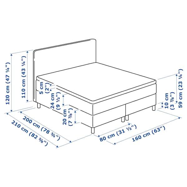 DUNVIK Kontinentalsäng, Hövåg medium fast/Tuddal mörkgrå, 160x200 cm