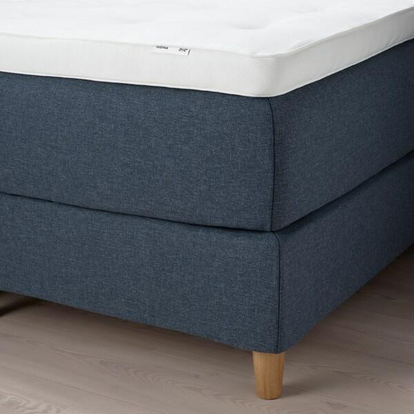 DUNVIK Kontinentalsäng, Hokkåsen medium fast/Tustna Gunnared blå, 180x200 cm