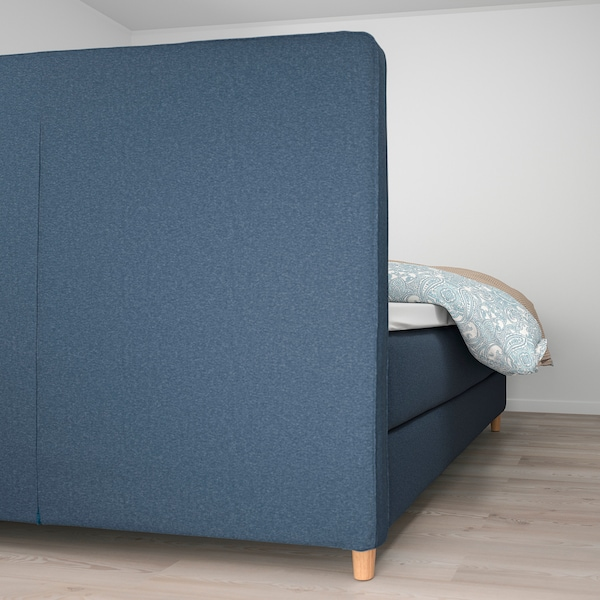 DUNVIK Kontinentalsäng, Hyllestad fast/Tussöy Gunnared blå, 160x200 cm
