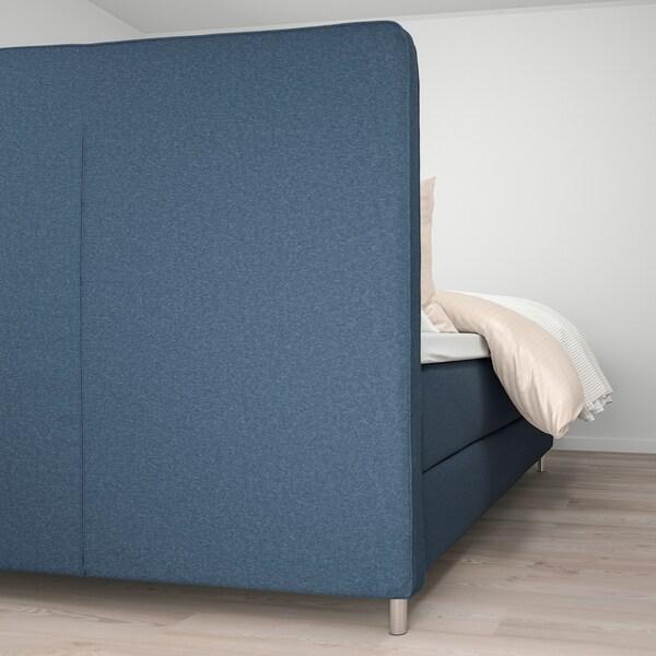 DUNVIK Kontinentalsäng, Hyllestad fast/Tustna Gunnared blå, 140x200 cm