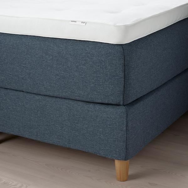 DUNVIK Kontinentalsäng, Hyllestad fast/Tustna Gunnared blå, 160x200 cm