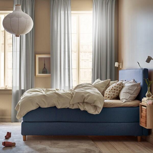 DUNVIK Kontinentalsäng, Hyllestad medium fast/Tussöy Gunnared blå, 160x200 cm