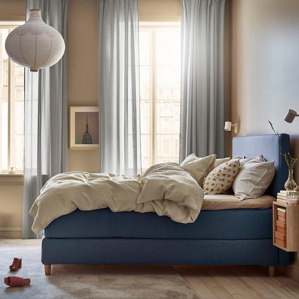 DUNVIK Kontinentalsäng, Hyllestad medium fast/Tustna Gunnared blå, 160x200 cm