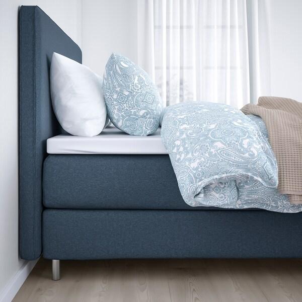 DUNVIK Kontinentalsäng, Vatneström fast/medium fast/Tistedal Gunnared blå, 160x200 cm