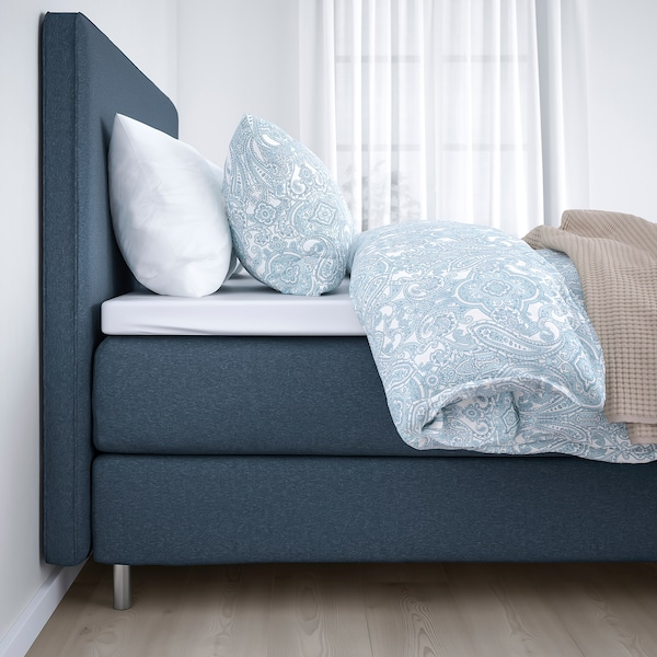 DUNVIK Kontinentalsäng, Vatneström fast/Tistedal Gunnared blå, 160x200 cm