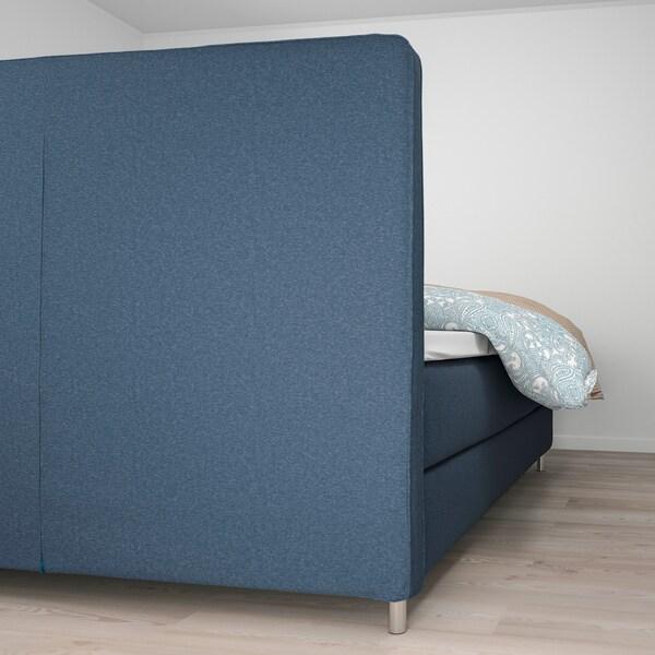 DUNVIK Kontinentalsäng, Vatneström medium fast/Tistedal Gunnared blå, 160x200 cm