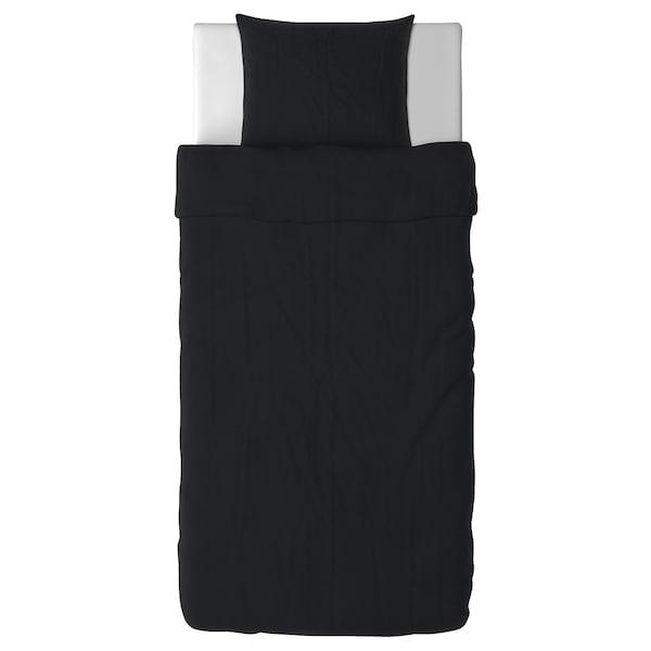 DVALA Påslakan 1 örngott, svart, 150x200/50x60 cm