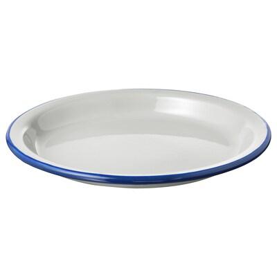 EGENDOM Tallrik, ljusgrå/mörkblå, 23 cm