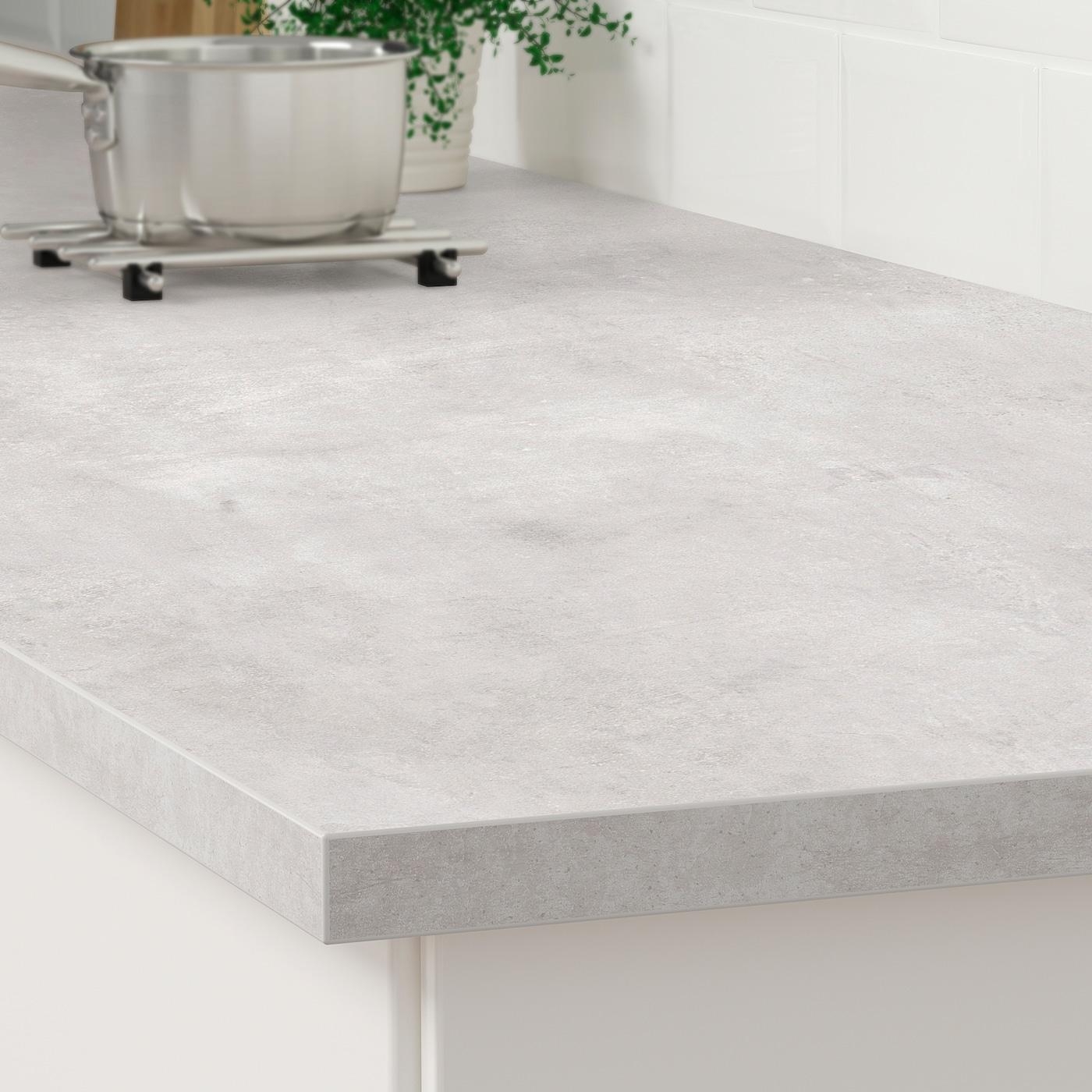 EKBACKEN Bänkskiva ljusgrå betongmönstradlaminat 186x2.8 cm