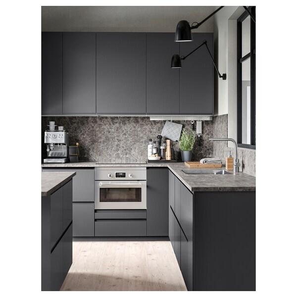 EKBACKEN Bänkskiva, mörkgrå marmormönstrad/laminat, 186x2.8 cm