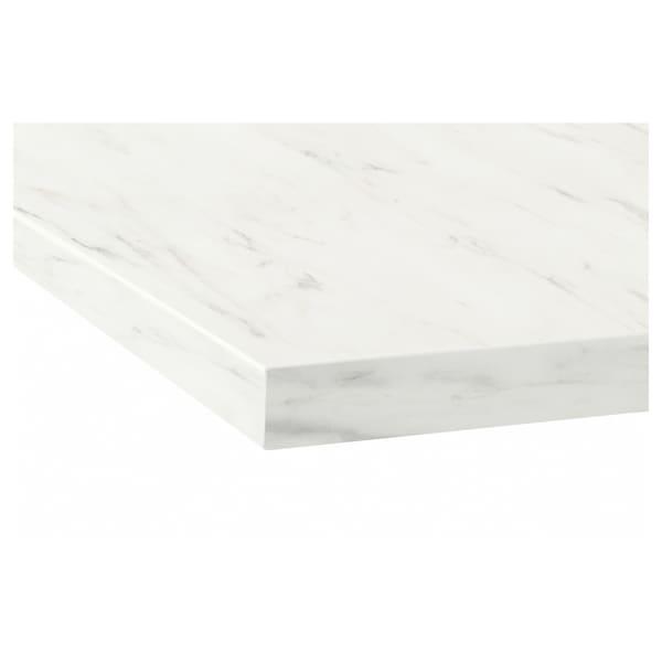 EKBACKEN Bänkskiva, vit marmormönstrad/laminat, 246x2.8 cm