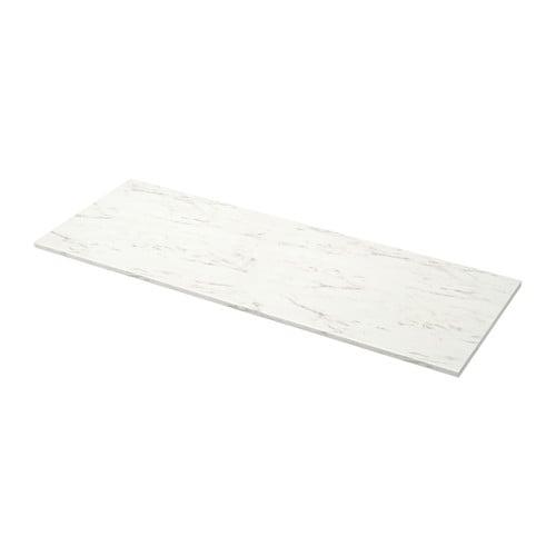 EKBACKEN bänksskiva vit marmormönstrad