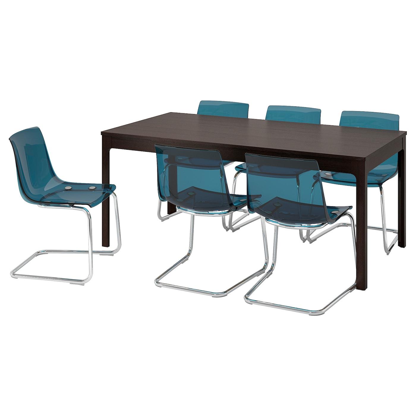 EKEDALEN TOBIAS Bord och 6 stolar mörkbrunblå 180240 cm