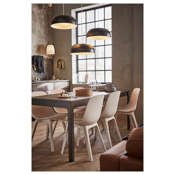 EKEDALEN Utdragbart bord, mörkbrun, 120/180x80 cm