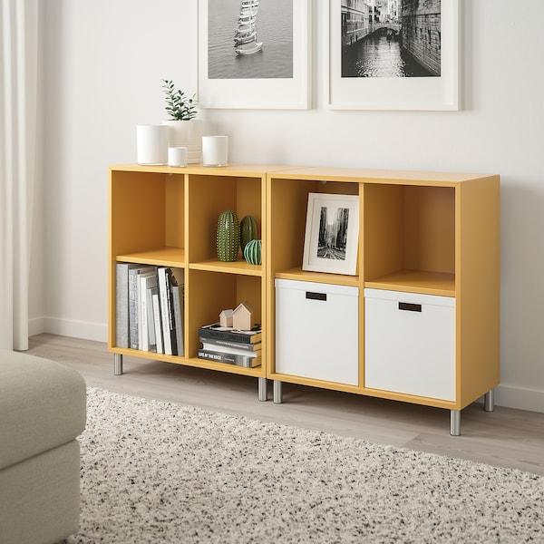 EKET Skåpkombination med ben, gyllenbrun, 140x35x80 cm