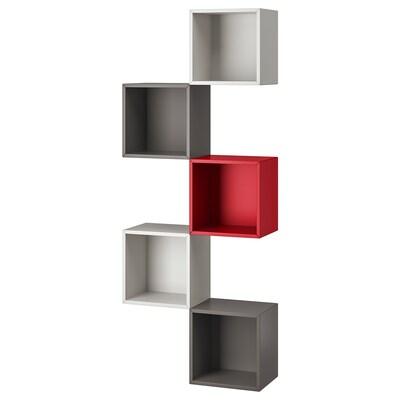 EKET väggmonterad förvaringskombination ljusgrå/mörkgrå/röd 70 cm 25 cm 175 cm