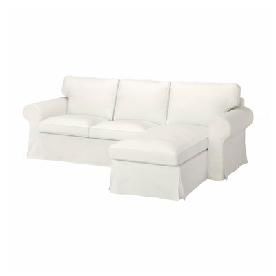 EKTORP 3-sitssoffa med schäslong Blekinge vit 252 cm 163 cm 88 cm 45 cm