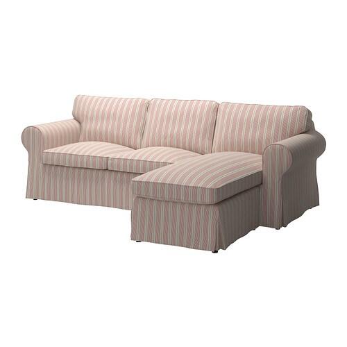 Ektorp Klädsel 2 Sits Soffa Med Schäslong Mobacka Beige Röd Ikea