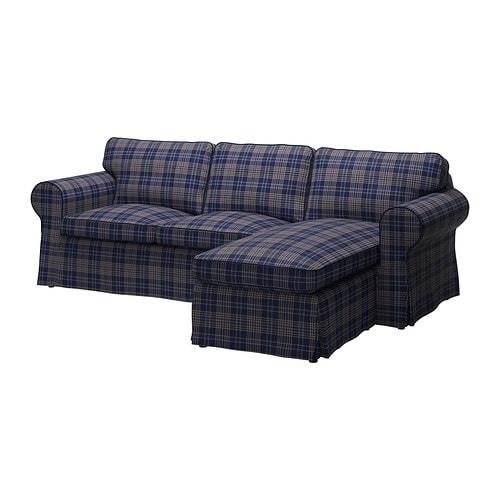 Ektorp Klädsel 2 Sits Soffa Med Schäslong Rutna Flerfärgad Ikea