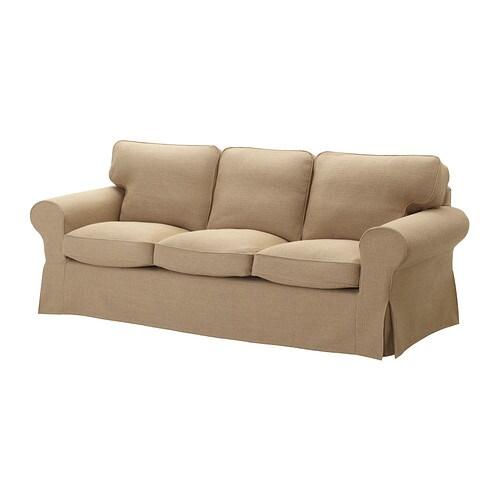 EKTORP 3-sits soffa , Edsken beige Bredd: 218 cm Djup: 88 cm Höjd: 88 cm Sitsdjup: 49 cm Sitshöjd: 45 cm