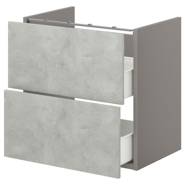 ENHET Bänkskåp f kommod m 2 lådor, grå/betongmönstrad, 60x42x60 cm