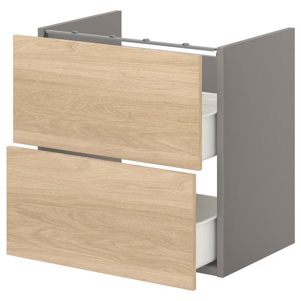 ENHET Bänkskåp f kommod m 2 lådor, grå/ekmönstrad, 60x42x60 cm