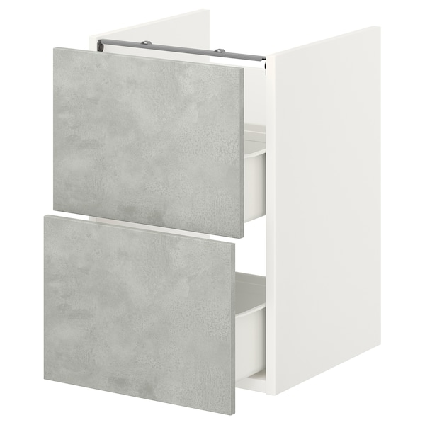 ENHET Bänkskåp f kommod m 2 lådor, vit/betongmönstrad, 40x42x60 cm